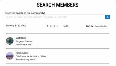 Screenshot of Share Your Road member search function
