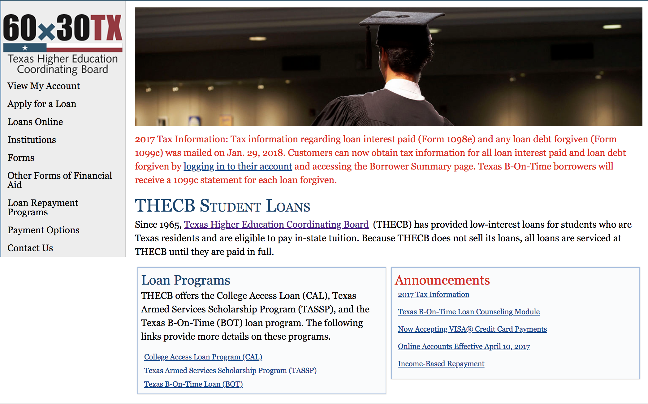 Screenshot of THECB homepage: Man in grad cap, 60x30TX logo