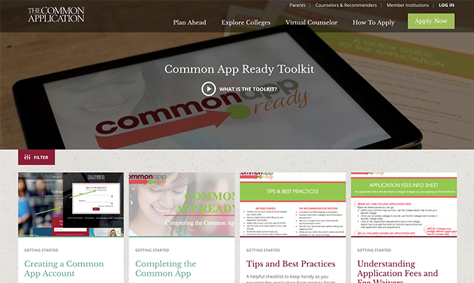 Common App Ready Homepage: buttons for lessons to create an account, tips and resources
