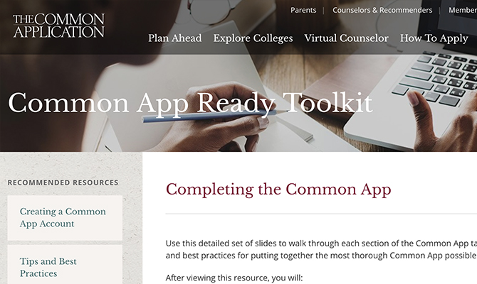 Screenshot: Image of woman working at computer with buttons plan ahead, explore colleges, and virtual counselor