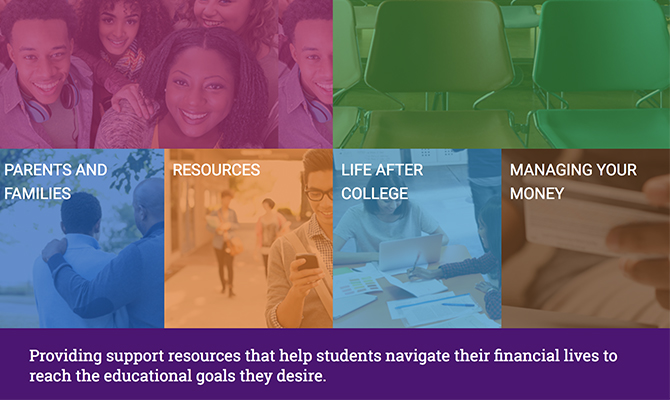 Screenshot of AIE homepage: colorful blocks with images of students and classrooms