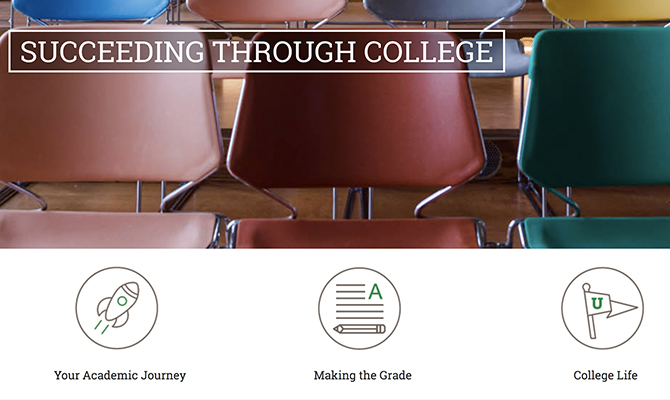 Web screenshot: classroom of chairs labeled succeeding through college
