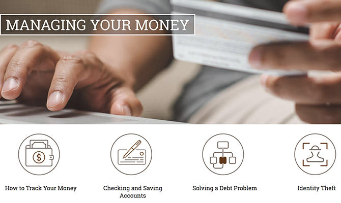 Web screenshot: hand holding credit card labeled managing your money