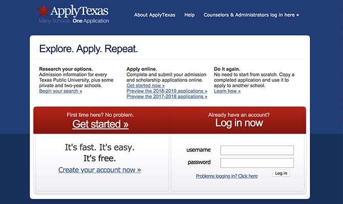 Web screenshot: log in panel for ApplyTexas