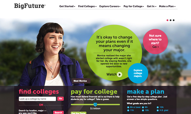 Web screenshot: Young girl smiling. Options to find a college, pay for college or make a plan