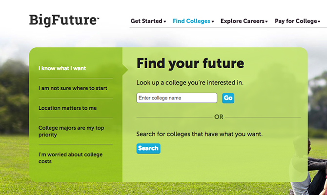 "Web screenshot: search bar to ""find your future"""