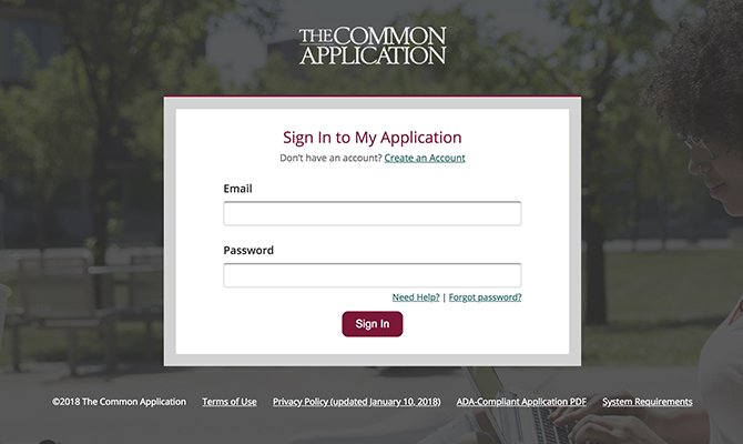 Screenshot: Common Application Single Log in