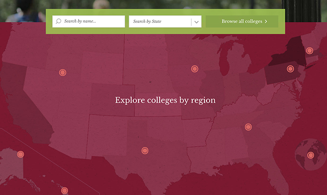 Screenshot: Map demonstrating the many college nationwide that accept Common Application