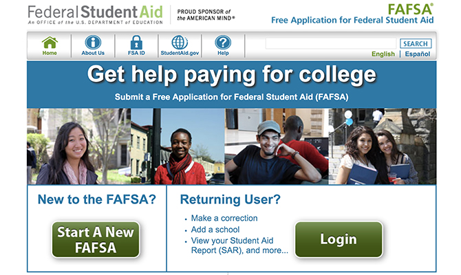 Screenshot: Federal Student Aid homepage with options to log in and start a new FAFSA (Free Application for Student Aid)