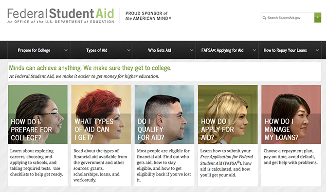 Screenshot: Federal Student Aid Homepage with images of users diverse in age, race and gender
