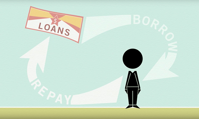 Icon: cycle of someone borrowing and repaying loans