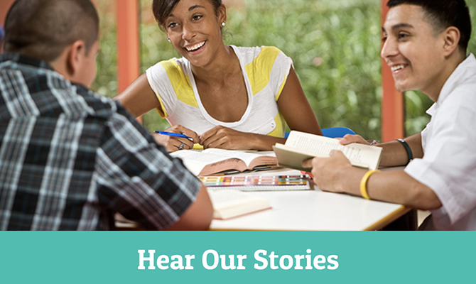 From GenTX website: Image of diverse students laughing and studying labeled hear our stories