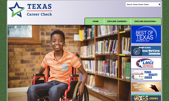 Screenshot of Texas Career Check webpage: young boy in wheelchair, tabs labeled explore careers and explore education