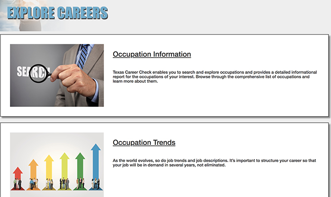 Screenshot: Explore Careers page with buttons for occupation information and occupation trends