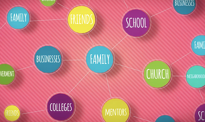Icon: Web linking familiy to things like business, school, college and mentorship