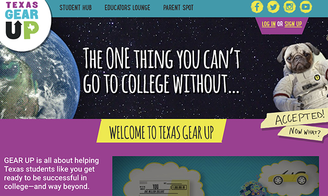 Screenshot of gearup homepage: a pug in space with headline the one thing you can't go to college without