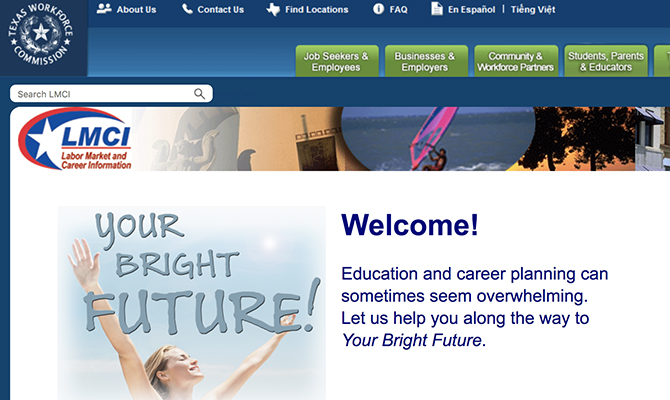 Screenshot of homepage: Woman reaching to the sky, tabs for job seekers, employers, workforce partners and families