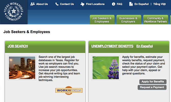 Screenshot: Homepage with buttons for job search and unemployment benefits