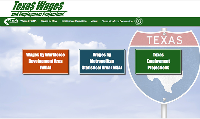 Screenshot: Homepage with road sign and images to go to pages on wage by development area or metropolitan area.