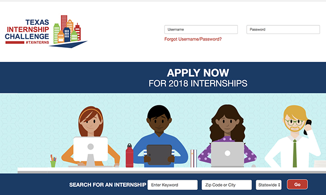 Screenshot: Icons of students applying for internship, internship search bar