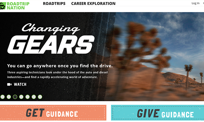 Roadtrip nation homepage: trees out a car window, buttons to get guidance or give guidance