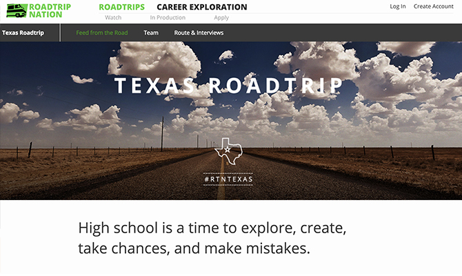 Texas Roadtrip homepage: Texas sky with label high school is a time to explore, create, and make mistakes