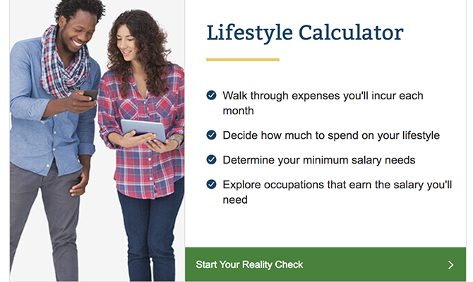 Woman and man reading smart phone, labeled lifestyle calculator