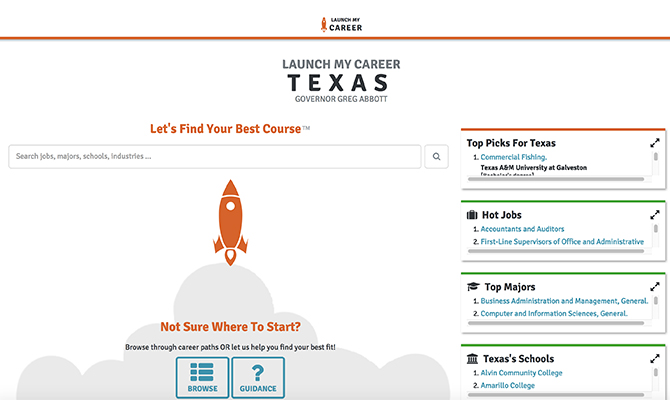 Launch My Career homepage: Icon of ship launching into space, with buttons for hot jobs and top majors