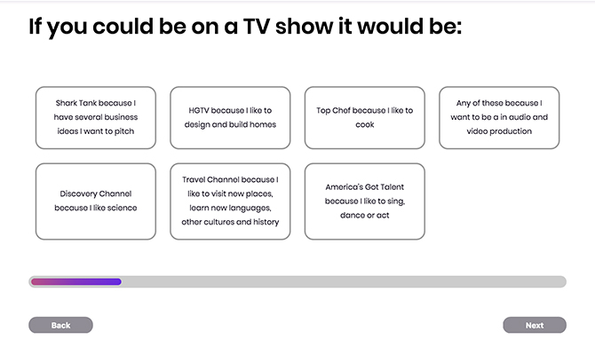 Screenshot: question if you could be on a TV show it what would it be with buttons for options