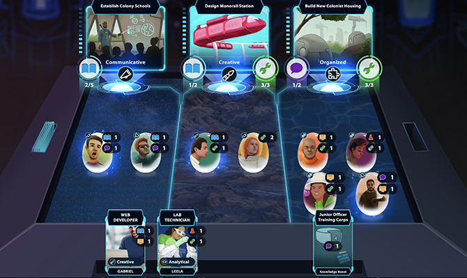 Screenshot of game showing cards related to professions in space