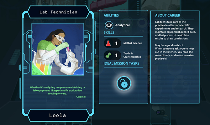 Sample career card showing lab technician with list of her abilities and skills