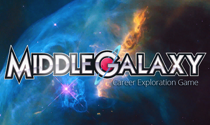 Swirling galaxies with MiddleGalaxy logo
