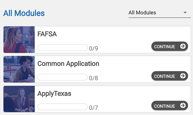 Screenshot of bars showing completion progress for FAFSA, Common Application and ApplyTexas trainings