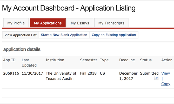 Sample dashboard showing progress of an application to University of Texas
