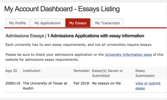 Sample dashboard showing progress on college essays