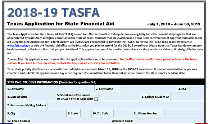 Preview of TASFA paper form