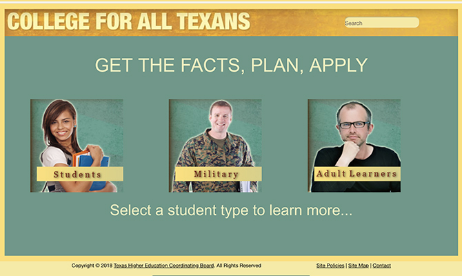 Homepage with options for students, military and adult learners