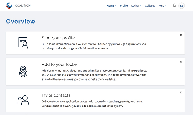 Web screenshot with options to start a profile or invite contacts