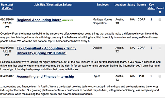 Screenshot of suggestions for various jobs, potential employers, locations and salaries