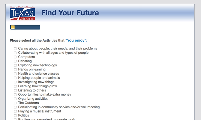 Screenshot of quiz suggesting activities one might enjoy