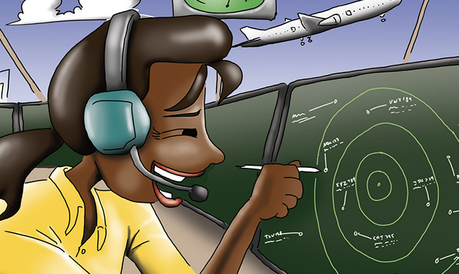 Cartoon of air traffic controller
