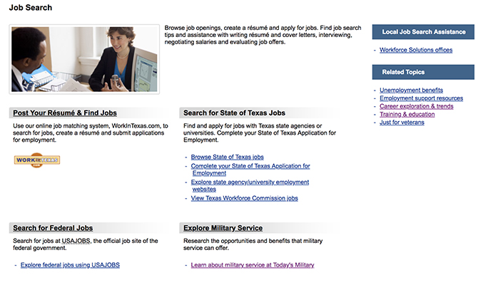 Screenshot of homepage showing job search function