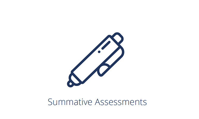 Pen icon labeled summative assessment