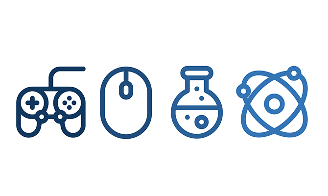 Icons of game controller, mouse, scientific beaker and atom