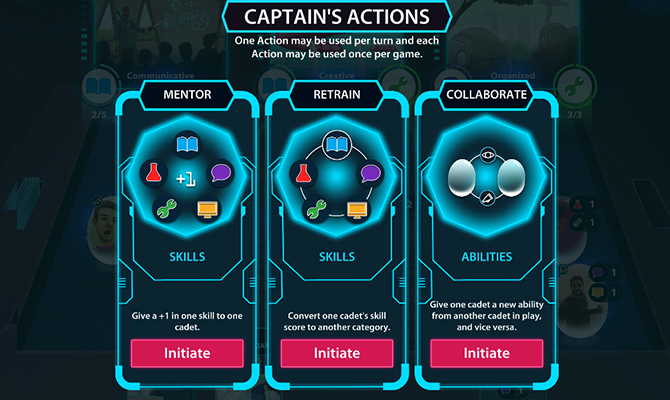 Sample cards for captains actions including mentor, retrain and collaborate