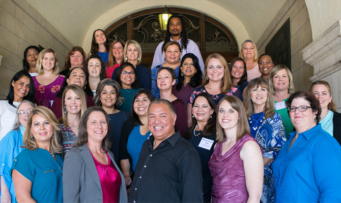 Texas OnCourse Leader Fellows - 28 faces diverse in age and ethnic background, mostly women