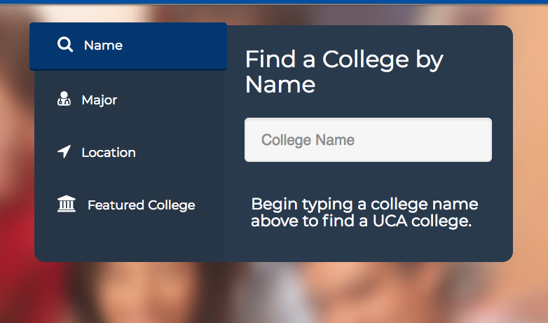 Screenshot of college search function
