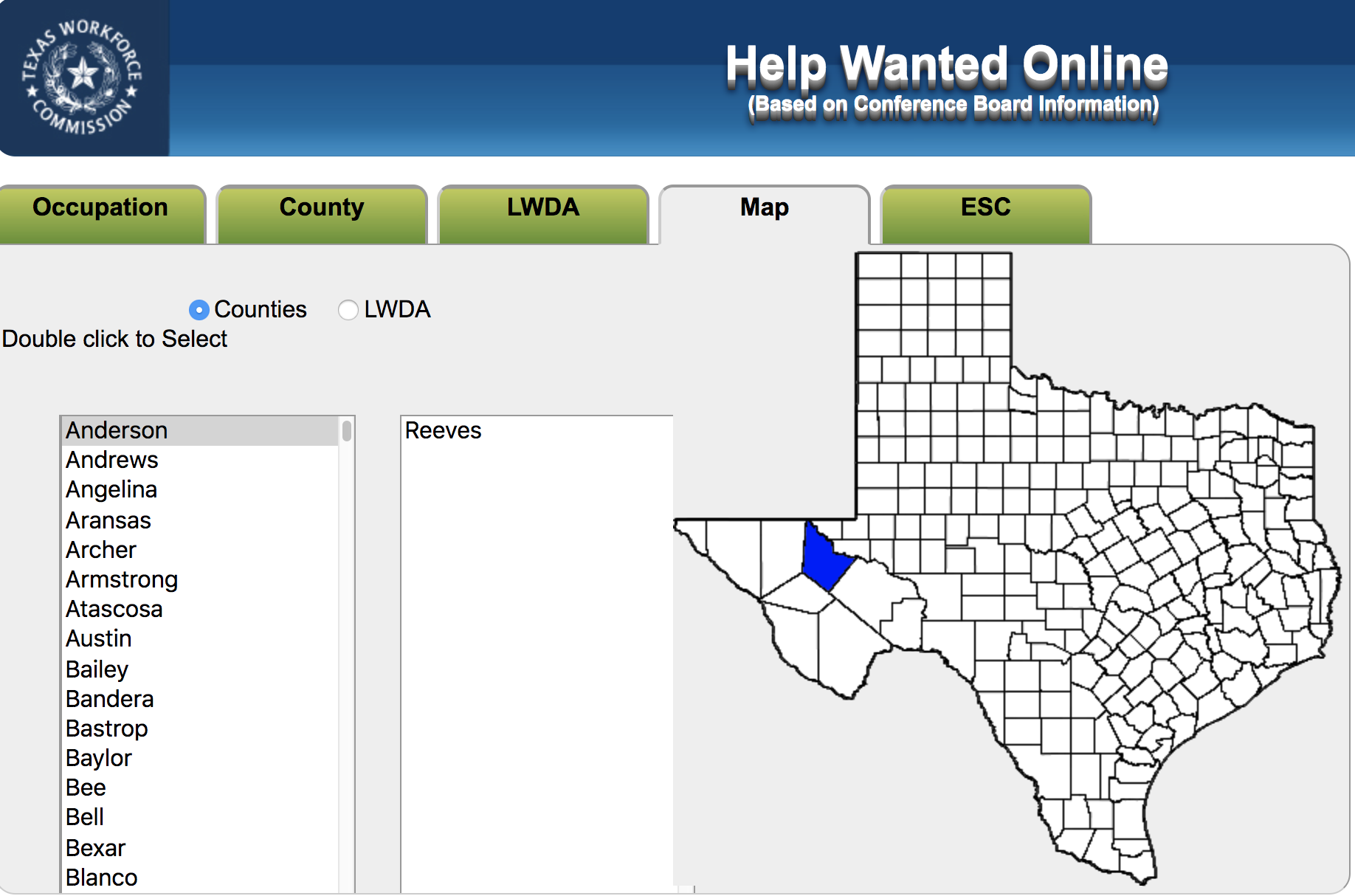 Screenshot: Map of Texas with region highlighted, titled Help Wanted Online