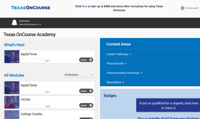 Screenshot of Texas OnCourse Academy Dashboard showing training subjects and progress