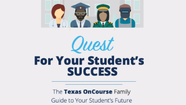 Screenshot of the cover of the Texas OnCourse Middle School Family Guide